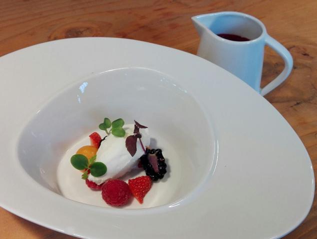 Un postre molt gourmet del restaurant Can Balcells d'Alella