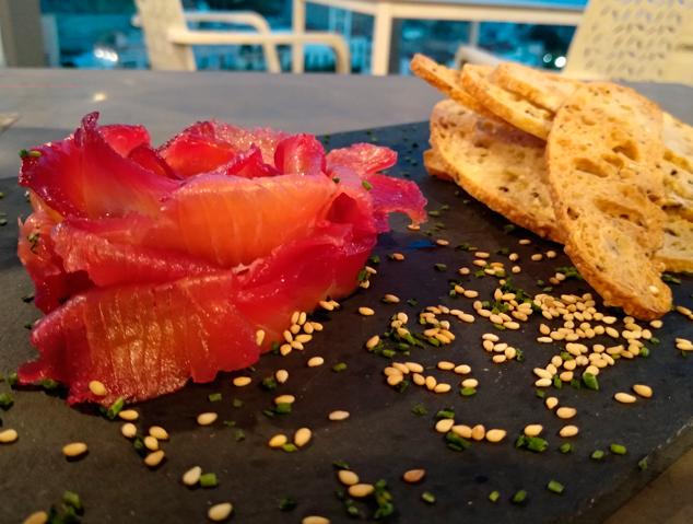 Flor de Salmó del restaurant Dynamic de Caldes d'Estrac