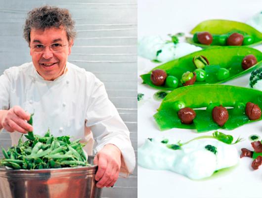 En Josep Maria Martin del restaurant Nou Cents de Mataró amb un dels seus plats de Pèsols