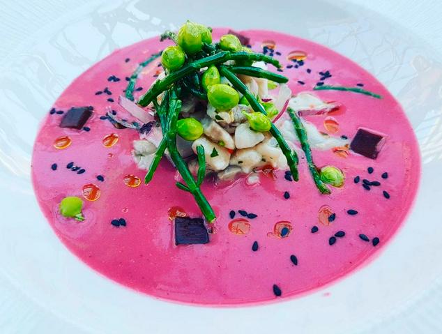 Un plat creatiu del restaurant El Jardí del Vellard