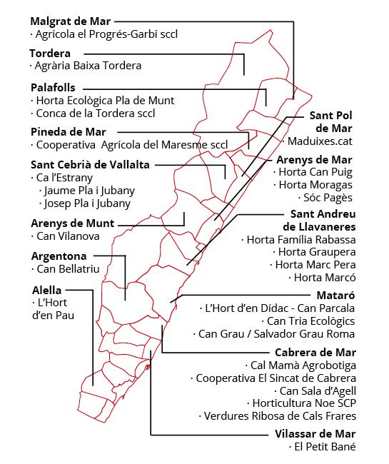 Mapa de productors de tomàquet pometa al Maresme
