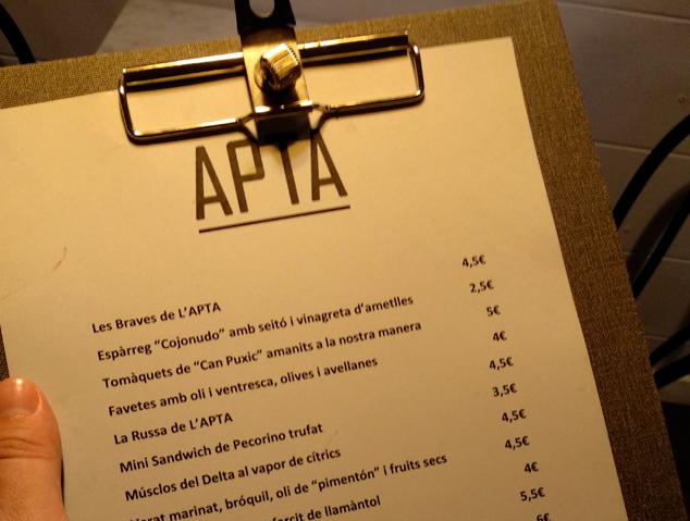 Carta del restaurant APTA
