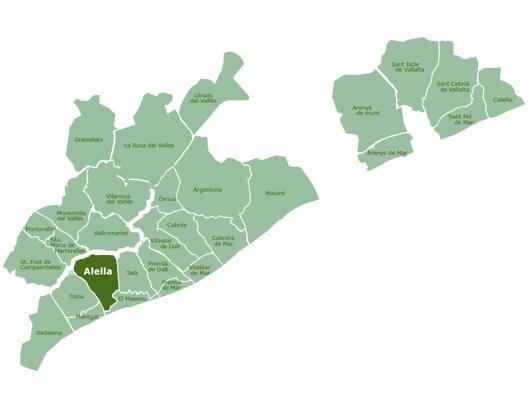 Mapa de la DO Alella