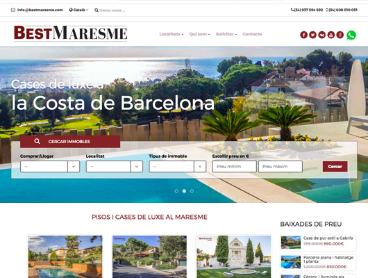 Web de l'Inmobiliària de casses de luxe BestMaresme