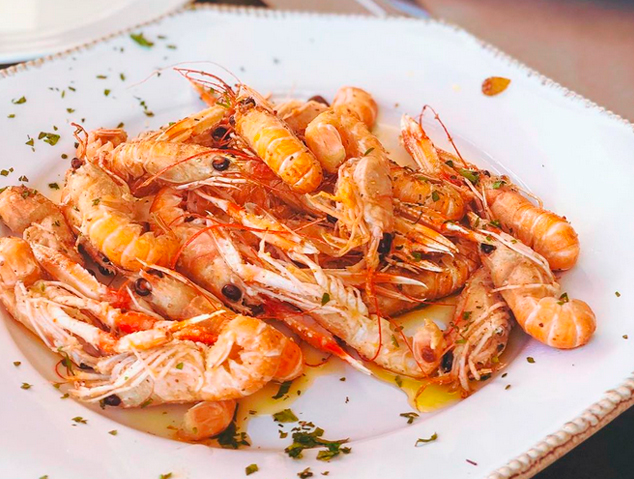 Un plat d'escamarlans del restaurant El Portinyol d'Arenys de Mar
