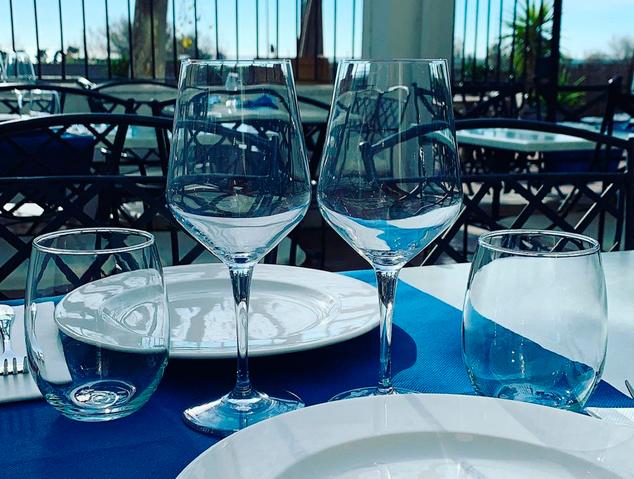 Terrassa del restaurant Blau de Mar d'Arenys de Mar
