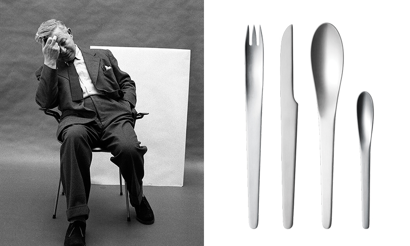 Arne Jacobsen amb un dels seus dissenys de coberts per Georg Jensen