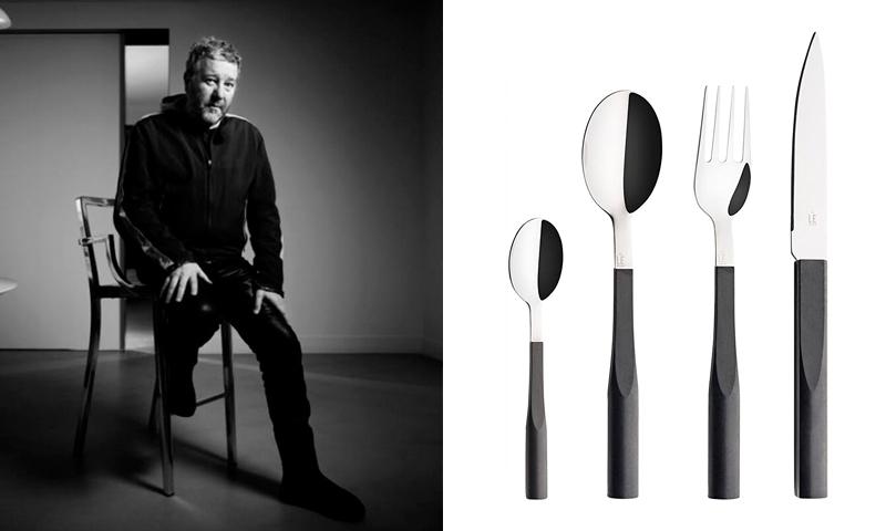 Philippe Starck amb un dels seus dissenys de coberts per Dregrenne
