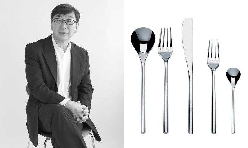 Toyo Ito amb un dels seus dissenys de coberts per Alessi