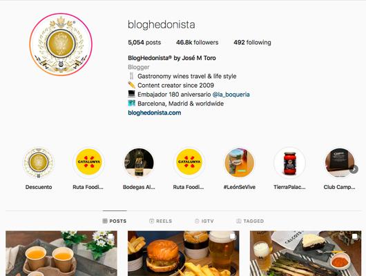 Perfil a Instagram de BlogHedonista